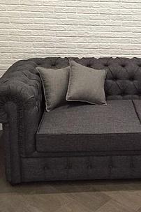 Частный интерьер, диван Честер в рогожке