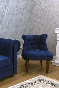 Частный интерьер, мебель в синем велюре